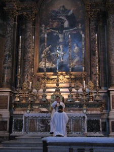 Father Cano offers Mass at the FSSP's personal parish, Santissima Trinità dei Pellegrini in Rome, Italy.  Father's brother Tito Cano is the altar server.