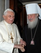 The Pope with then-Metropolitan Kirill in December 2007. (CNS/Reuters)